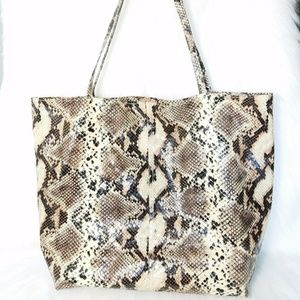 Saks Fifth 5th Avenue Faux Snakeskin Large Tote